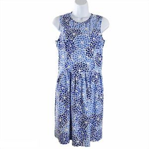 Jude Connally Dress Blue Print Sleeveless Medium